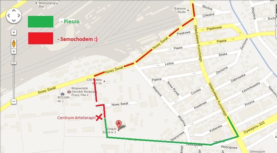 mapka dojazdu do Centrum Arteterapii Lublin, Wyścigowa 31