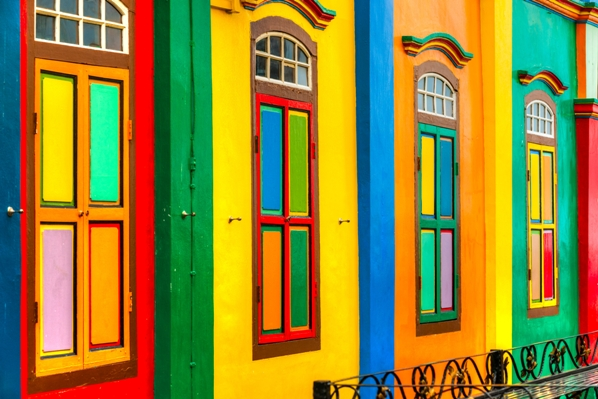 Colorful facade of building in Little India, Singapore
